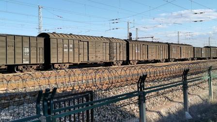 HXD11694牵引棚车大列通过古营盘站