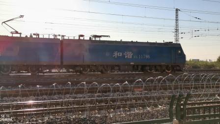 HXD11796牵引天皓水泥罐大列通过古营盘站
