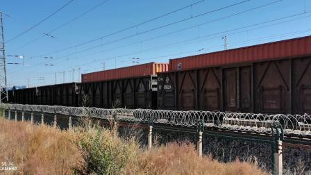 HXD21156+DF4D-4177牵引大列通过古营盘站