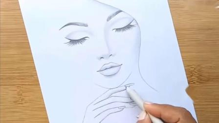 绘画素材画红唇女孩的简单方法| | |