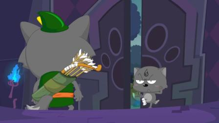 喜羊羊:小狼人真是拼命,为阻止黑太狼抓羊,连自残都用上!