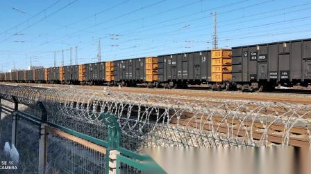 双机HXD1(1656+1658)牵引万吨大列通过古营盘站