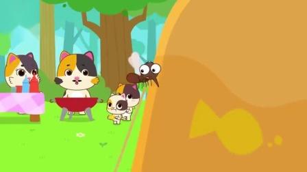 宝宝巴士:儿童安全小心有蚊子吃烧烤的小猫被蚊子咬了个大包