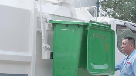 同辉汽车侧装挂桶垃圾车作业视频