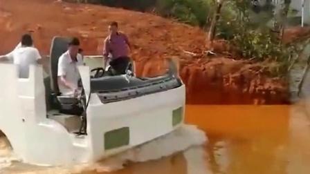 水陆两栖的大货车来了!这种车我真的是没见过,竟然还真的能在水里开