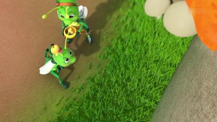 萌鸡小队:小蚂蚱不吃饭,跳不过大石头,撞的满头都是包!