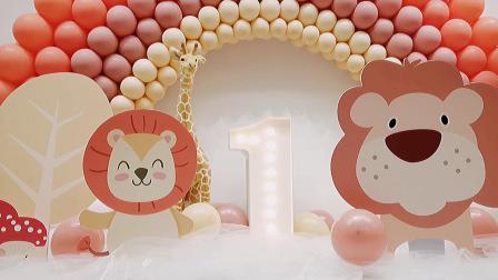 秋季气球彩虹宝宝宴布置