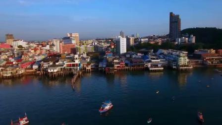 航拍泰国芭堤雅沿岸码头海滩