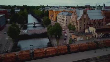 航拍北欧瑞典城市