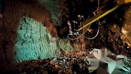 MB-R500铣挖机在卡特挖机上铣削隧道岩石