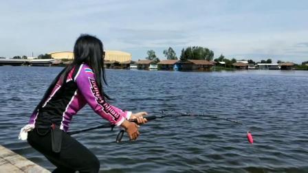 池塘边抛投钓淡水大物,这样的拉鱼节奏你们看了手痒吗?
