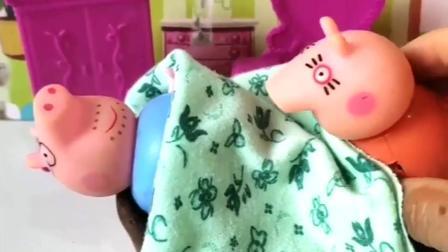 猪妈妈听到有人唱歌,以为是猪爸爸在唱歌,不料是乔治