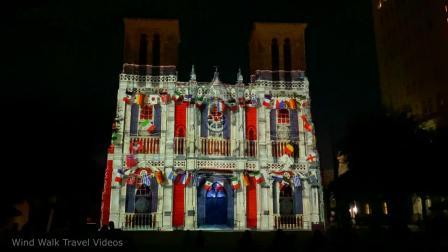 San Antonio   The Saga Light Show - San Fernando Cathedral in Texas USA 2020