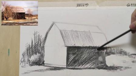【素描教程】小木屋照片写生(简单光影)