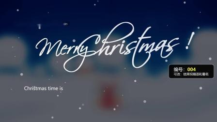 圣诞老人英文圣诞电子贺卡模板PPT模板视频素材