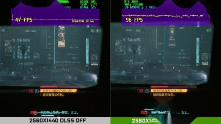 赛博朋克2077 DLSS开关性能对比测试