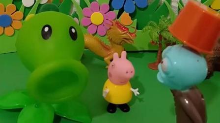 豌豆射手的大炮丢了,不让小猪乔治去说,可是被僵尸听见了
