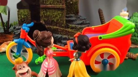 白雪公主在拉车,贝尔公主来为难白雪,吉吉国王来教训贝尔