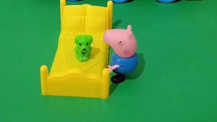 小猪乔治喜欢和狗狗玩,他们不去猪妈妈的房间,去外边玩