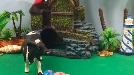 乔治找牛先生和小猪玩,牛先生和小猪不搭理乔治,乔治遇见猪妈妈