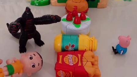 小猪乔治有好多零食,大头儿子想吃,可那是保护小猪的机器人