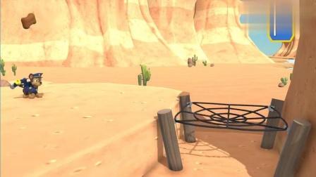 好玩的汪汪队游戏 阿奇发射出弹跳网,顺利的跳上了山顶