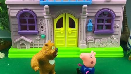 熊二和乔治唠嗑,熊二的智商真让人捉急,乔治不想搭理熊二