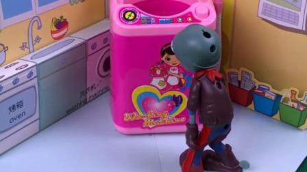 僵尸看见门没关进去,躲进了洗衣机里,洗衣机被回收了
