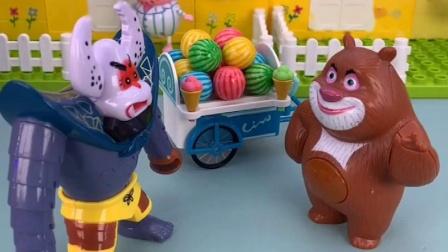 熊大卖糖了,小朋友买糖可以,他就不可以吗