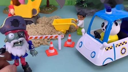 小熊猫施工了放路障,僵尸来了他们想过去,不能过
