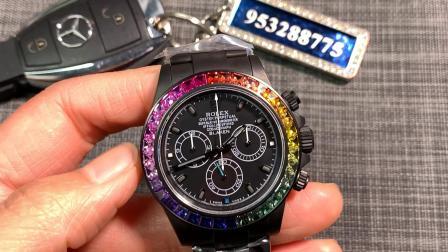 大v腕表 大唯时刻 迪通拿改装后镶钻镀黑Blacken彩虹圈!彩虹迪!
