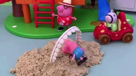 乔治在玩呢,被牙齿绊倒了,是大鱼鱼的牙
