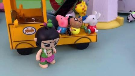 葫芦娃把车开来了,让乔治他们上来,带他们走了