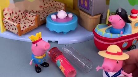 佩奇买了一个口红糖,乔治趁着佩奇不在的时候,给佩奇吃掉