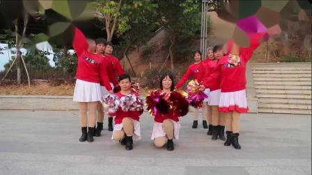 2021龙川思念广场舞姐妹演示:恭喜发财新年到花球舞