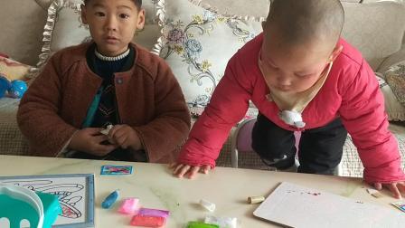 光头宝宝手工制作手晶画 纱画玩具