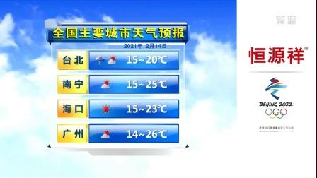 全国主要城市天气预报 2021年2月14日