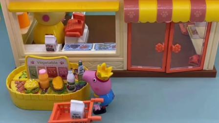 小猪家的冰箱空空如也,乔治推着车子去采购,给乔治打一百分