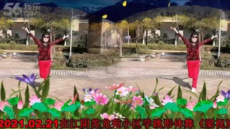 2021.02.21荷珍在江阴苏龙苑小区学跳形体舞《梁祝》2
