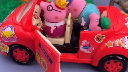 猪爸爸开车去上班,佩奇一家都要蹭车,猪爸爸的车也太挤了!