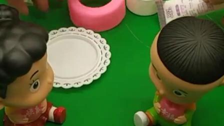大头要给棉花糖妹妹做她喜欢吃的蛋糕!
