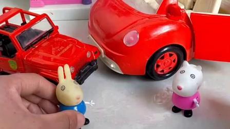 苏西和瑞贝卡开车来接佩奇,可是佩奇不坐,她只坐猪妈妈的车