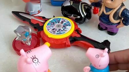 光头强在卖玩具,小猪乔治非常的喜欢,让猪妈妈买一个送给他