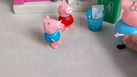 佩奇乔治出来找猪爸爸,因为小猪弄坏了猪妈妈的东西,寻求帮助