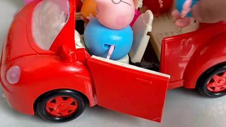 猪爸爸开车去上班,送猪妈妈去买菜,送佩奇乔治去学校上学吧