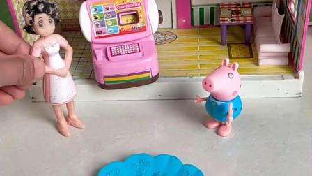 小猪乔治去买了很多水果,还吃了大披萨,最后给猪妈妈买了橙汁