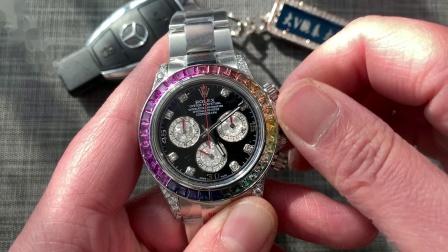 大v腕表 劳力士迪通拿调时间方式和计时功能展示!钢壳彩虹迪!