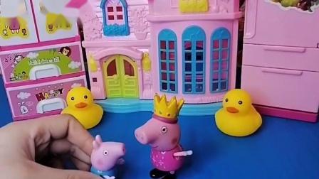 小猪佩奇带着乔治在玩,听到猪奶奶不舒服,小猪要回家照顾奶奶