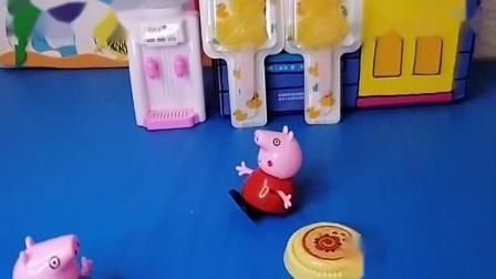 小猪佩奇要去游泳,弟弟乔治还太小了,应该乖乖和奶奶在家里