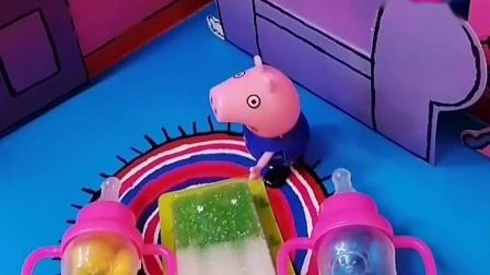 小猪乔治买了好吃的,准备送给佩奇和爸爸妈妈,可自己没有了